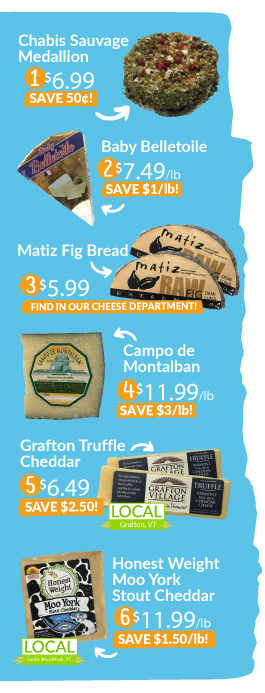 images of five cheeses and fig bread with sale prices