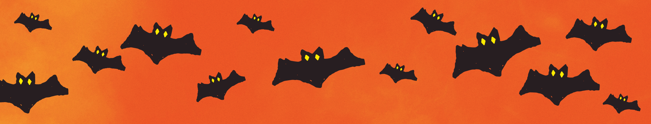 Illustrated bats on an orange background