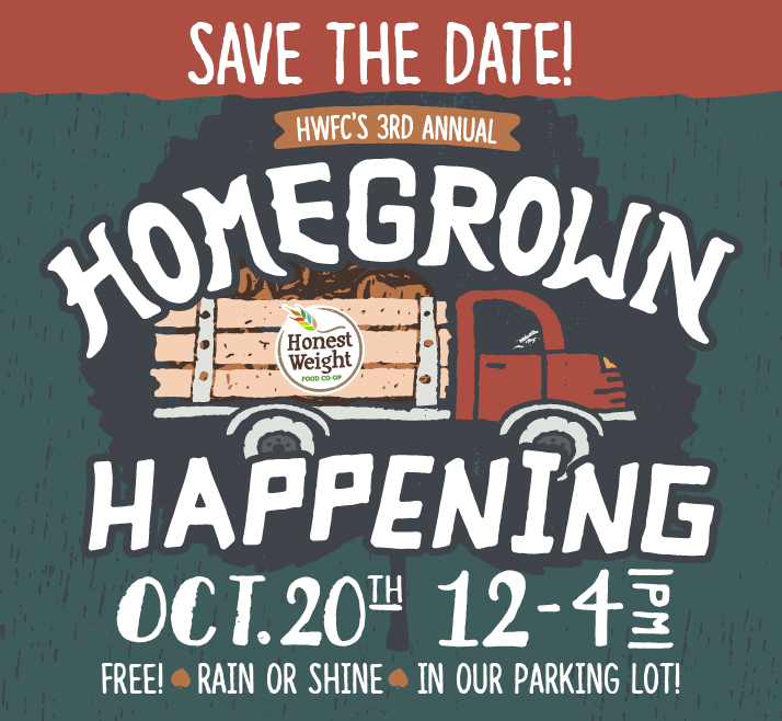 Illustrated logo and words on blue background: Save the date! Honest Weight's 3rd annual Homegrown Happening, Saturday October 20th, 12-4pm at 100 Watervliet Ave in Albany.