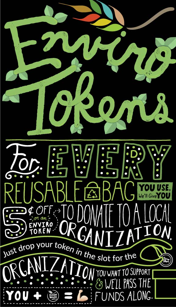 Envirotokens logo with the following text: For every reusable bag you use, we'll give you five cents off or an enviro token to to donate to a local organization. Just drop your token in the slot for the organization you want to support and we'll pass the funds along.