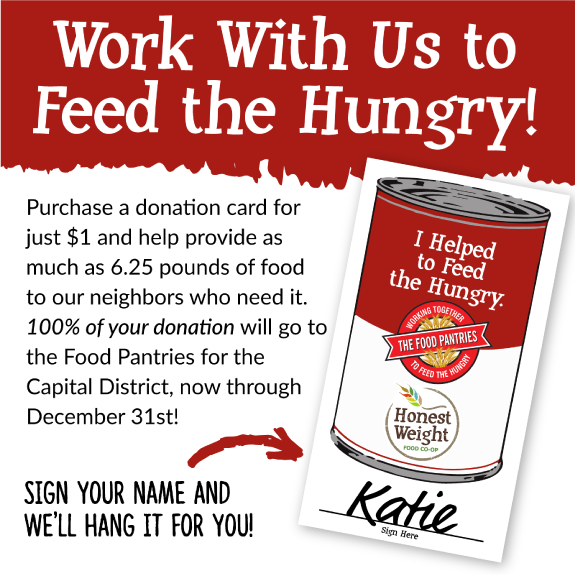 Can illustration with Honest Weight and Food Pantries logo and text from the body of the blog