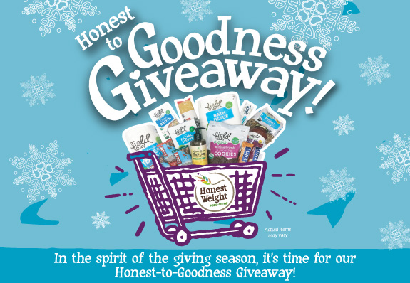 Honest to Goodness Giveaway graphic-shopping cart full of Co-op Basics food