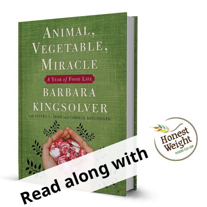 Hardcover copy of the book Animal, Vegetable, Miracle by Barbara Kingsolver