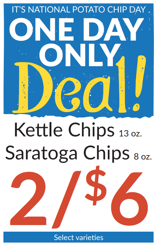 Flyer for National Potato Chip one day only sale