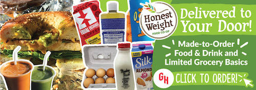 Honest Weight Delivered to your dood! Made-to-Order food and drink and limited grocery basics. Click to order!