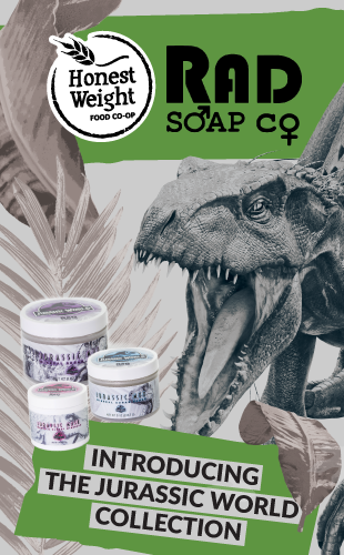 Dinosaur and RAD soap mask and scrubs with the words,