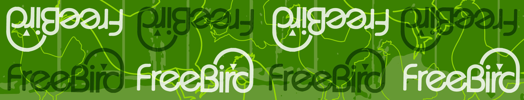 Freebird logo repeated across a green background