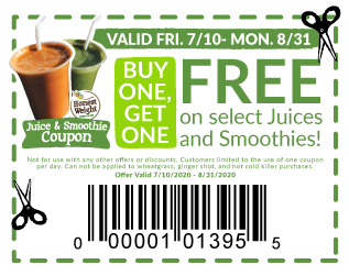 Coupon to buy one, get one free - select juices and smoothies