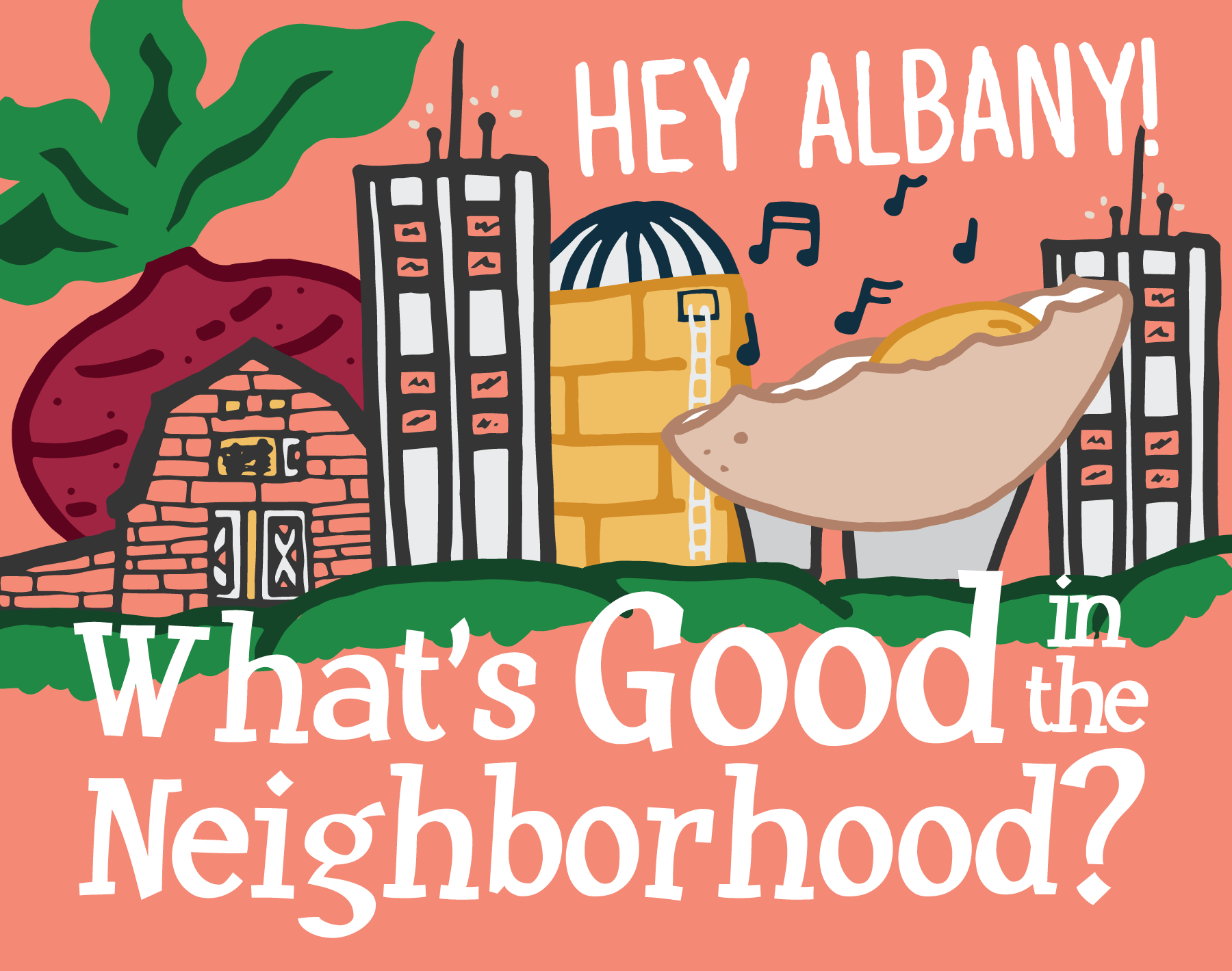 Illustration of Albany skyline with the words,